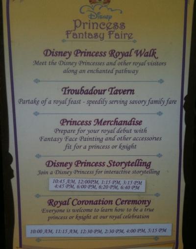 DL Princess Fantasy Faire Schedule